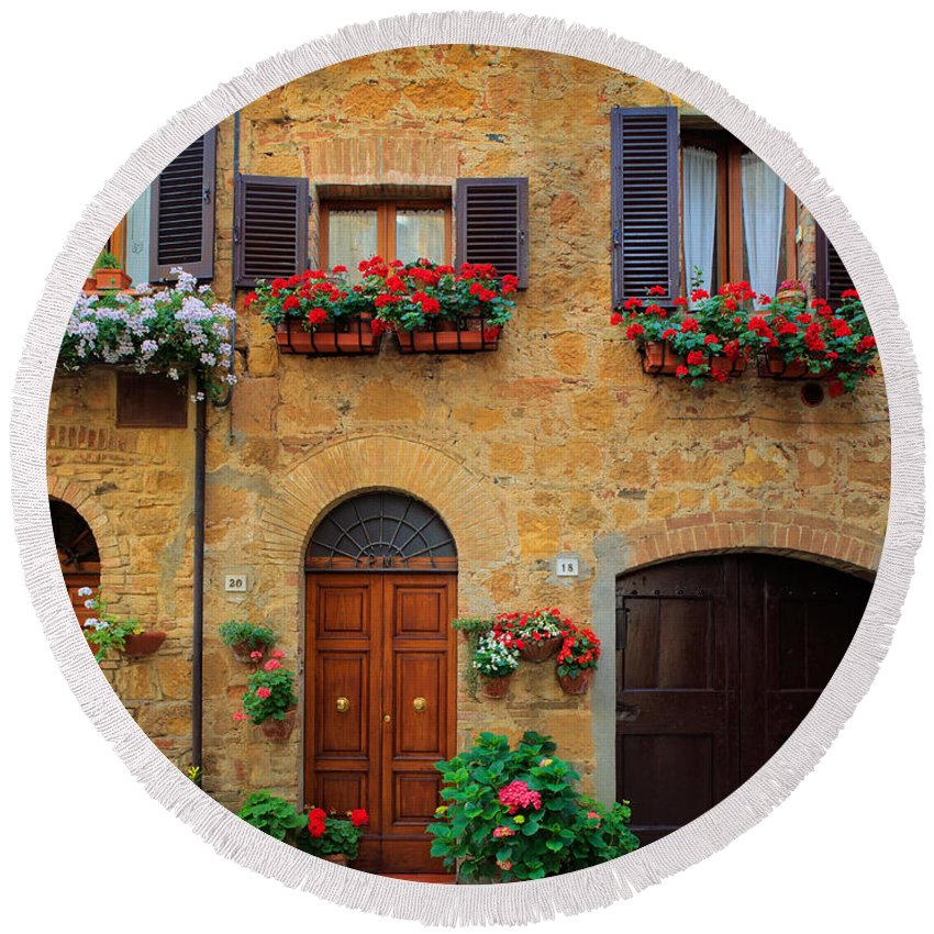 Europe Round Beach Towel featuring the photograph Tuscan Homes by Inge Johnsson