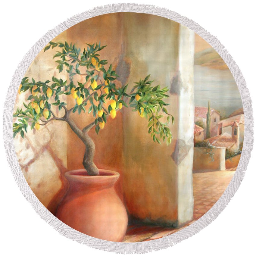 Lemon Round Beach Towel featuring the painting Tuscan Lemon Tree by Michael Rock