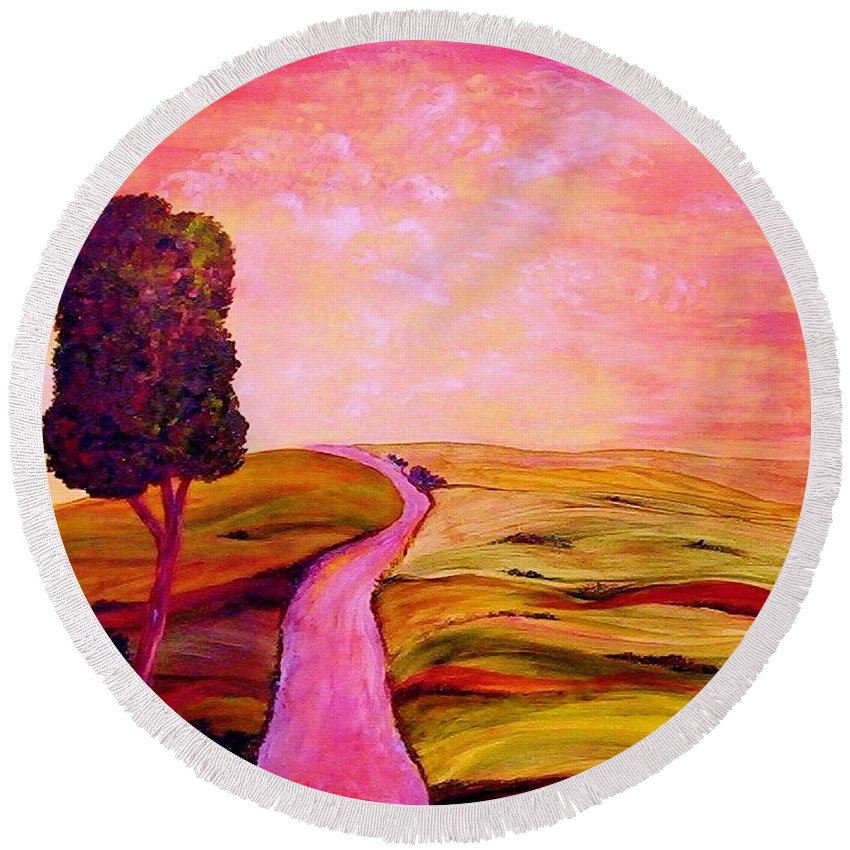 Tuscany Round Beach Towel featuring the painting Tuscan Skies ... An Impressionist View by Eloise Schneider Mote
