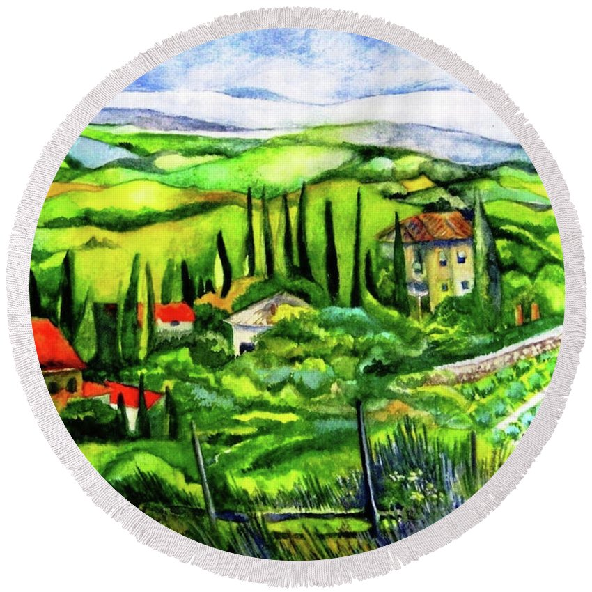 Tuscany Round Beach Towel featuring the painting Tuscan Valley by Kandy Cross