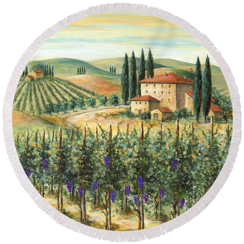 Tuscany Round Beach Towel featuring the painting Tuscan Vineyard And Villa by Marilyn Dunlap