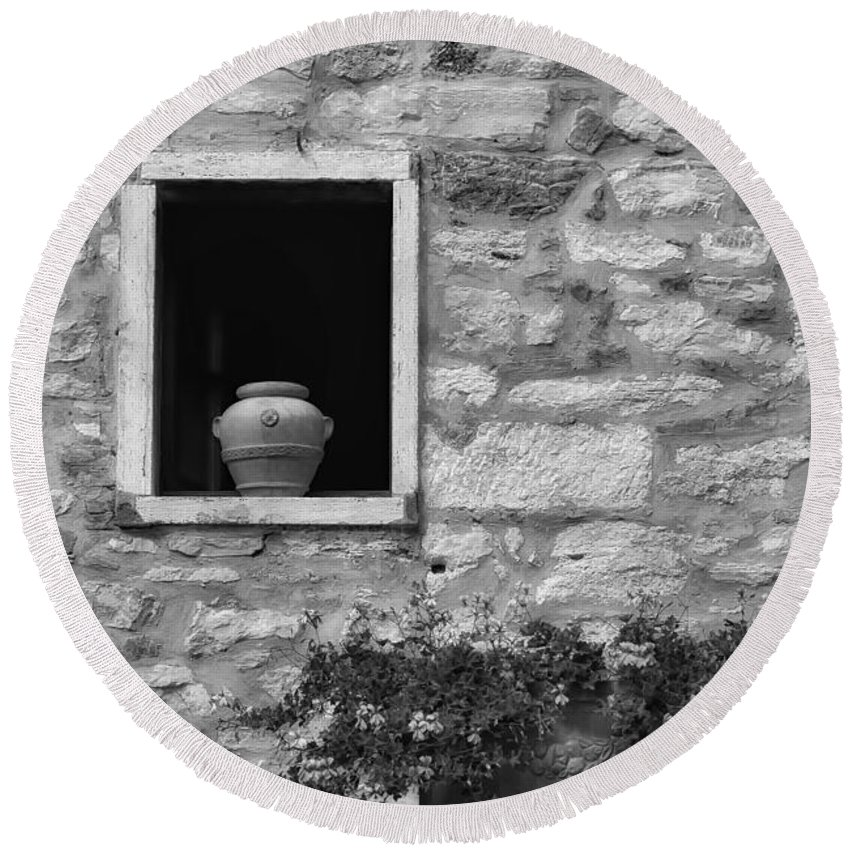 Tuscany Round Beach Towel featuring the photograph Tuscan Window And Pot by Mike Nellums
