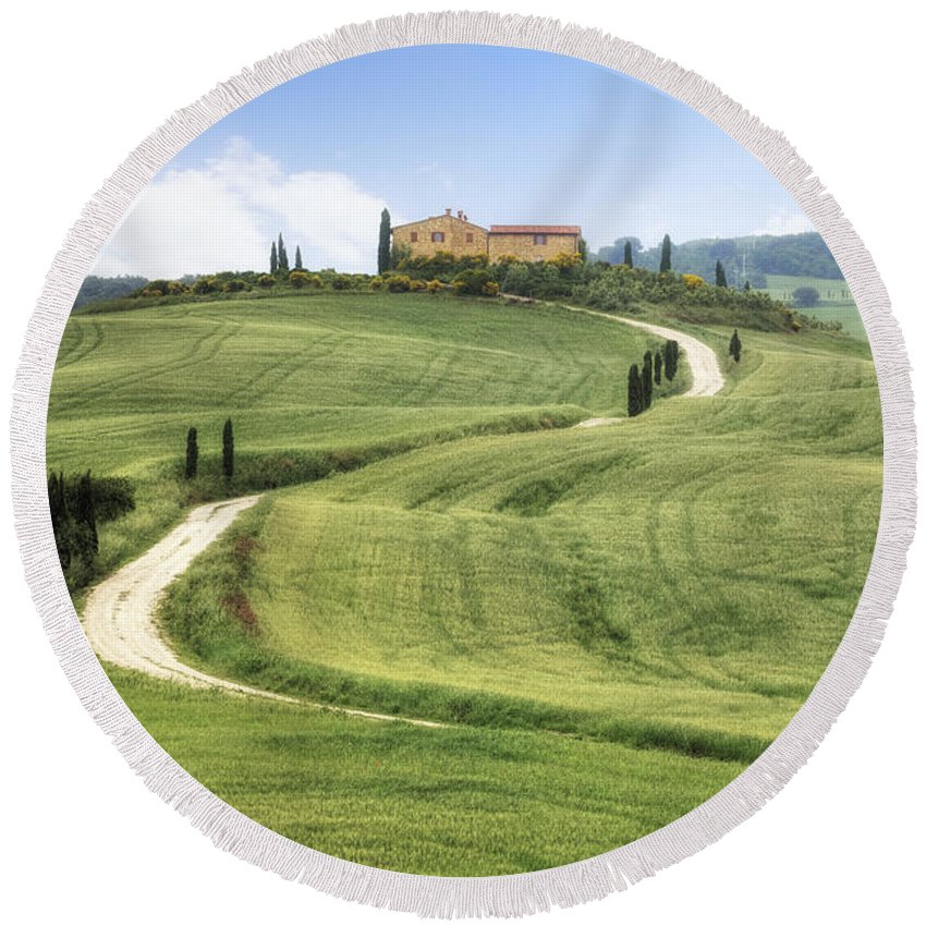 Pienza Round Beach Towel featuring the photograph Tuscany - Val D'orcia by Joana Kruse