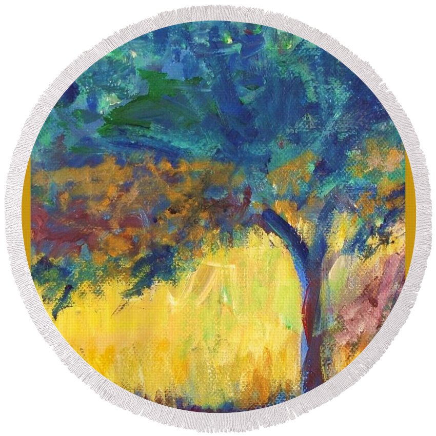 Tuscany Round Beach Towel featuring the painting Tuscany Hill Side Shadows by Eric Schiabor