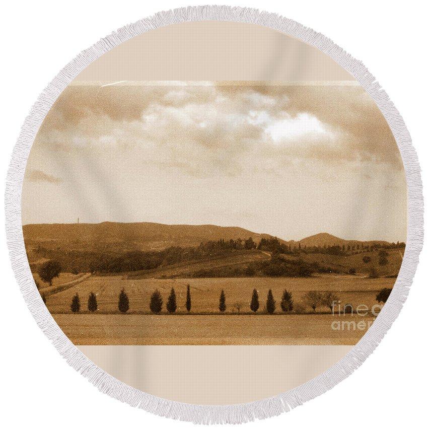 Tuscany Round Beach Towel featuring the photograph Tuscany by Irina Davis