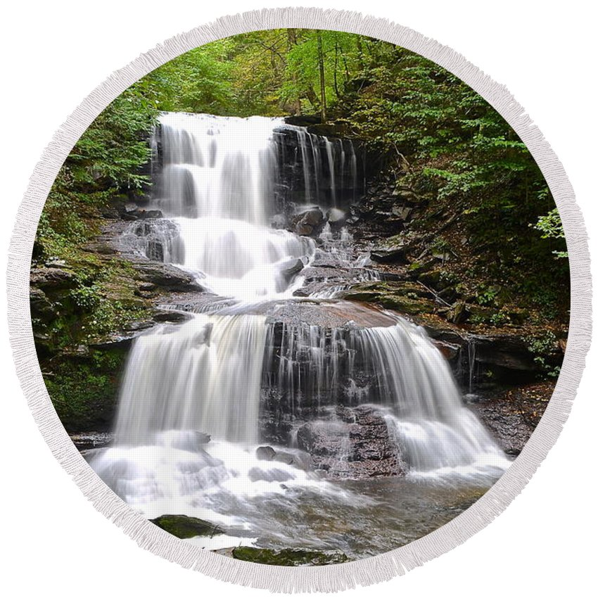 Waterfall Round Beach Towel featuring the photograph Tuscarora Falls by Frozen in Time Fine Art Photography