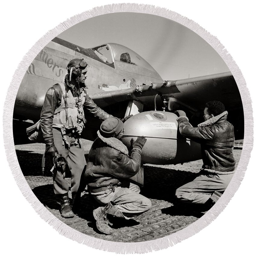 Tuskegee Round Beach Towel featuring the photograph Tuskegee Preflight by Benjamin Yeager