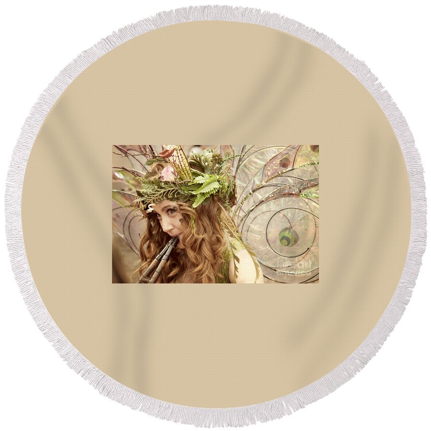 Color Image Round Beach Towel featuring the photograph Twig The Fairy by Juli Scalzi