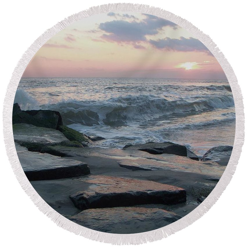 Twilight Round Beach Towel featuring the photograph Twilight At Cape May In October by Eric Schiabor