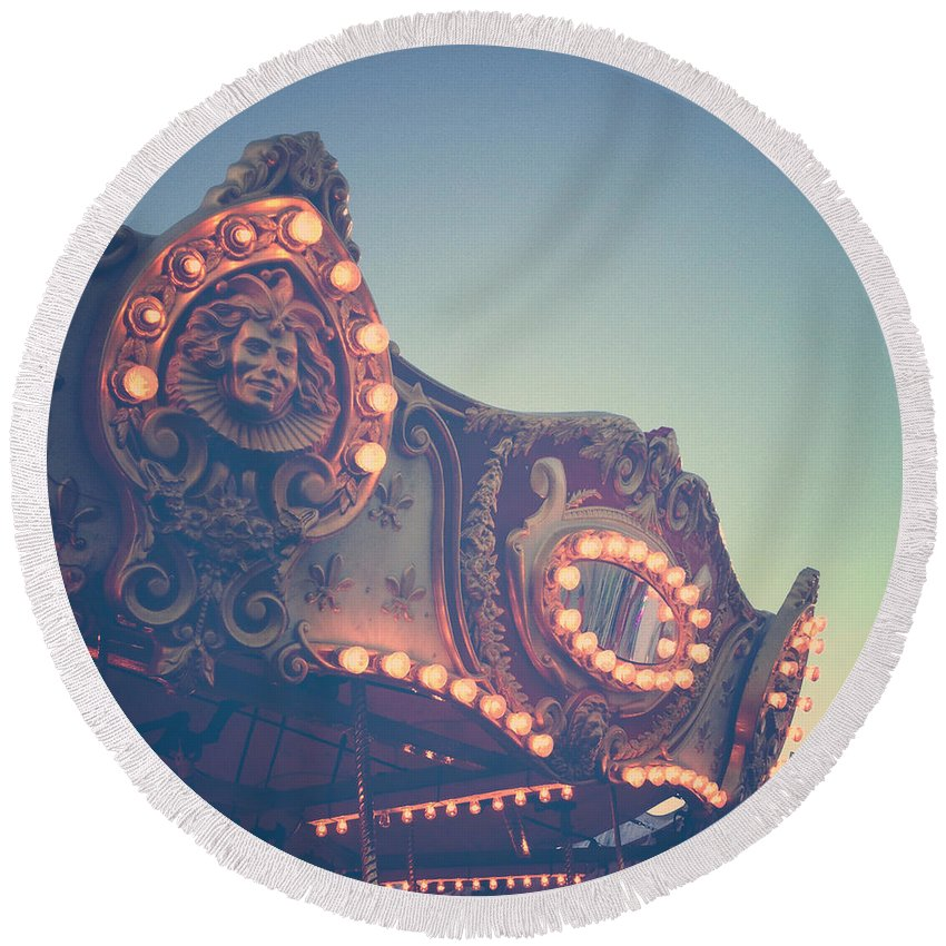 Carousel Round Beach Towel featuring the photograph Twilight Carnival Ride by Olivia StClaire