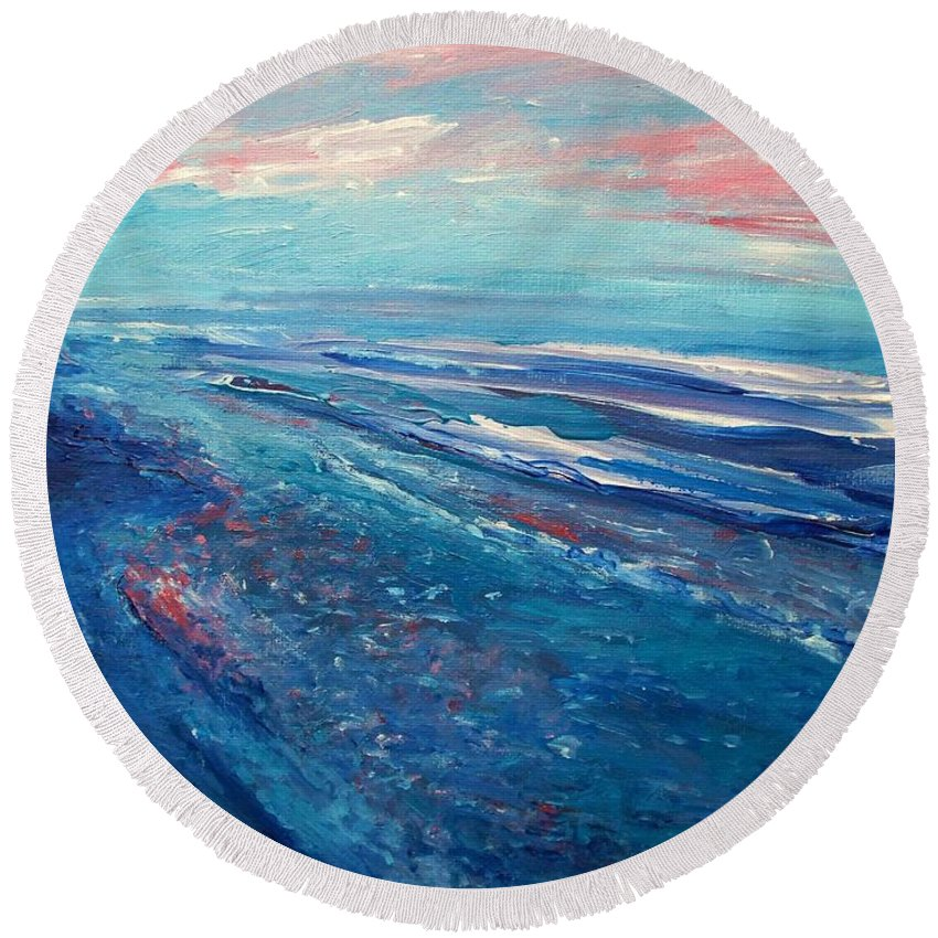 The Actor Round Beach Towel featuring the painting Twilight by Eric Schiabor