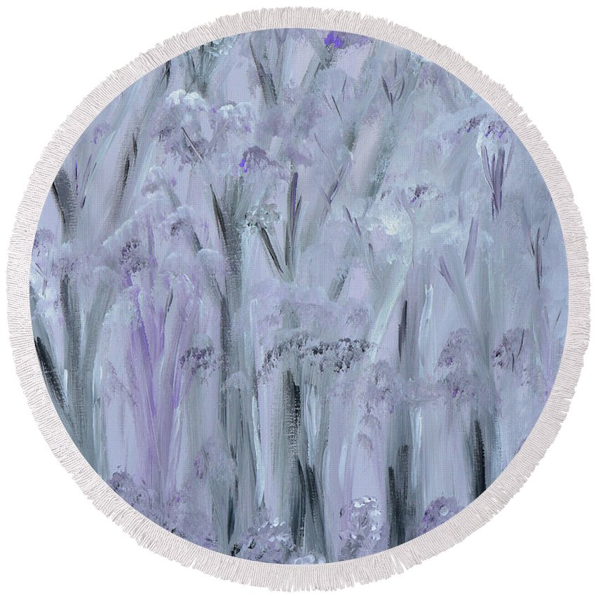 Forest Round Beach Towel featuring the painting Twilight Forest by Donna Blackhall