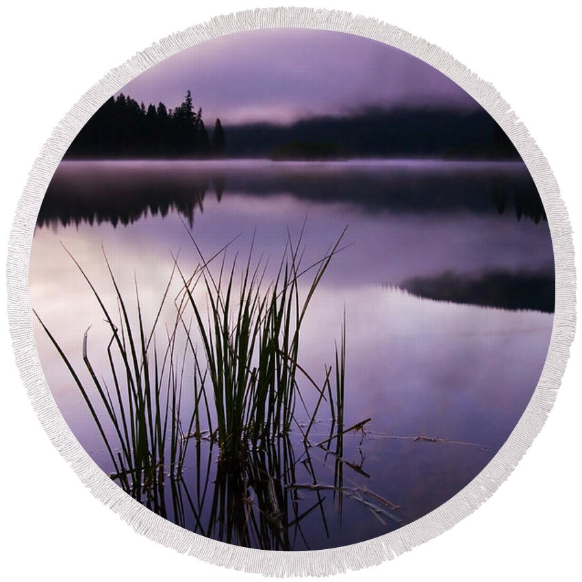 Lake Round Beach Towel featuring the photograph Twilight Glow by Mike Dawson
