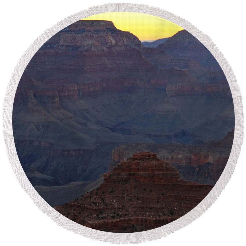Arizona Round Beach Towel featuring the photograph Twilight Mather Point by Ed Riche