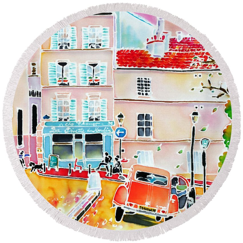Paris Round Beach Towel featuring the painting Twilight Montmartre by Hisayo Ohta
