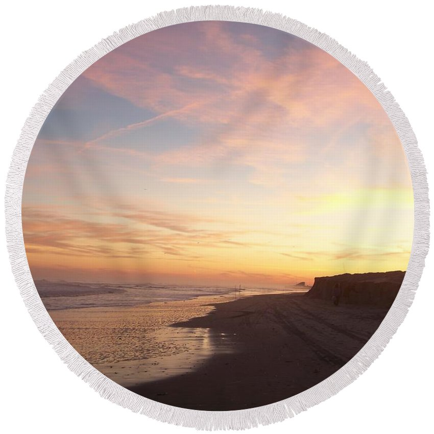 Twilight Round Beach Towel featuring the photograph Twilight Near Pier by Eric Schiabor