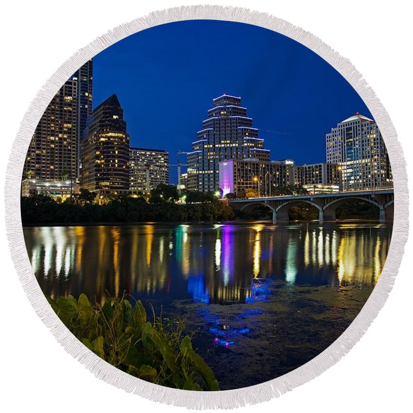 Austin Round Beach Towel featuring the photograph Twilight Reflections by Dave Files