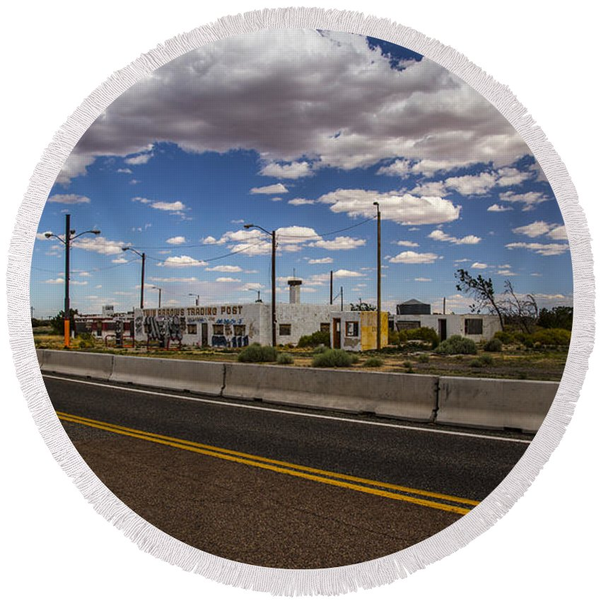 Route 66 Round Beach Towel featuring the photograph Twin Arrows Trading Post by Angus Hooper Iii