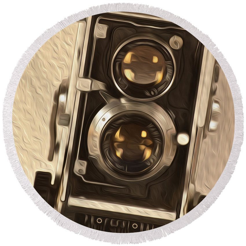 Tlr Round Beach Towel featuring the digital art Twin Lens Reflex Redux by Bruce Stanfield