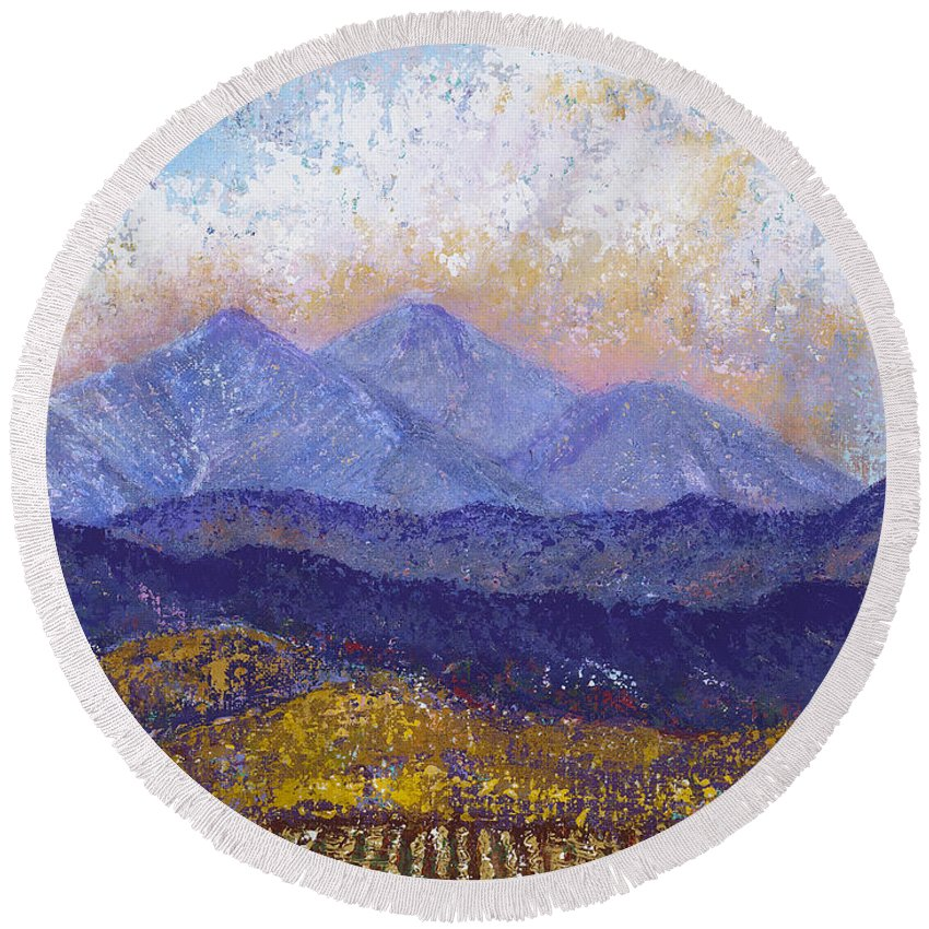 Landscape Round Beach Towel featuring the painting Twin Peaks Above The Fruited Plain by Margaret Bobb