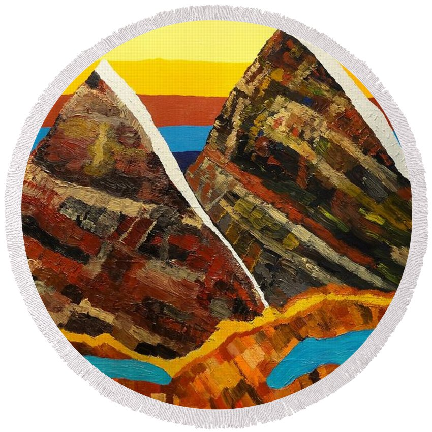Abstract Round Beach Towel featuring the painting Twin Peaks by Douglas W Warawa