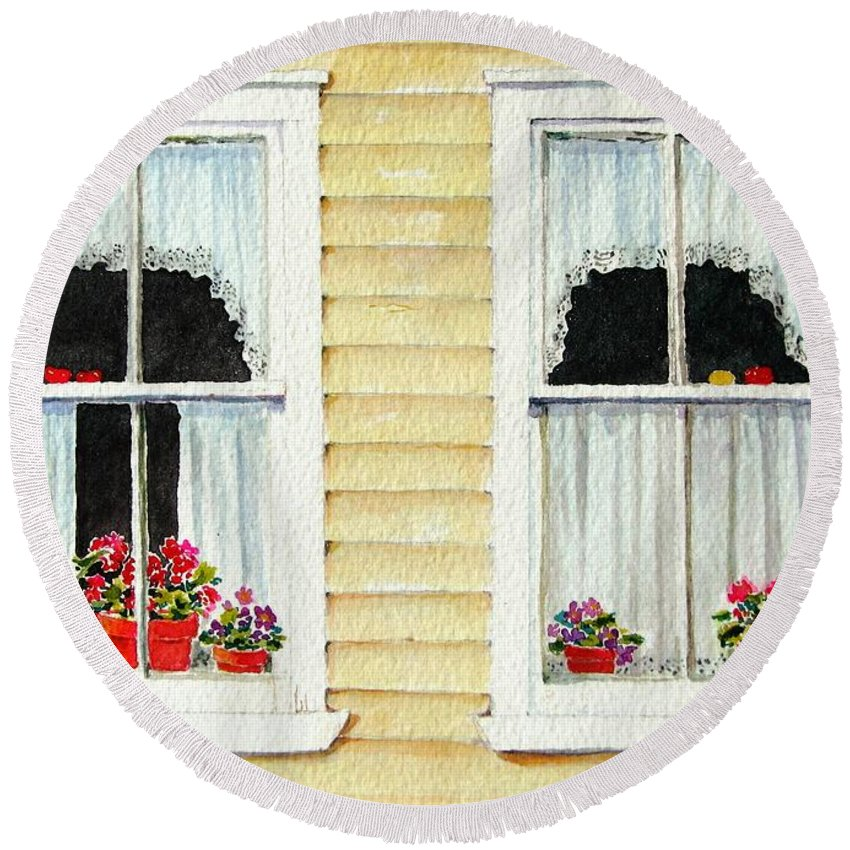 Windows Round Beach Towel featuring the painting Twin Peeks by Mary Ellen Mueller Legault