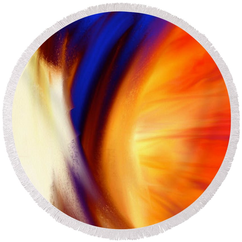 Abstract Greeting Card Round Beach Towel featuring the painting Twisted by Anita Lewis
