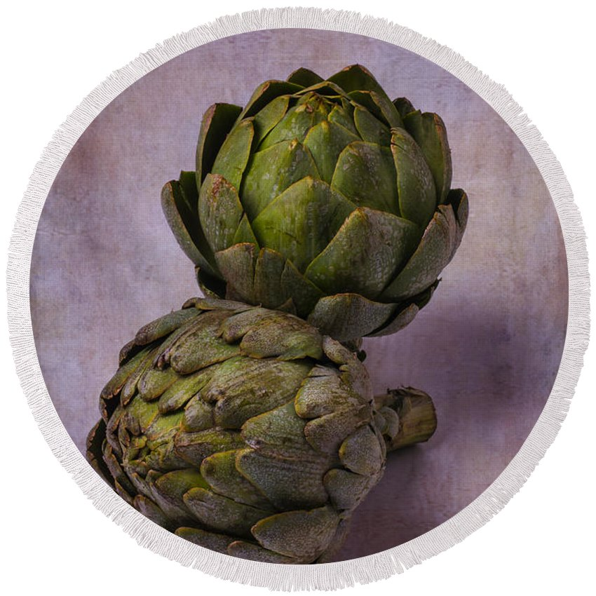 Two Artichokes Round Beach Towel featuring the photograph Two Artichokes by Garry Gay