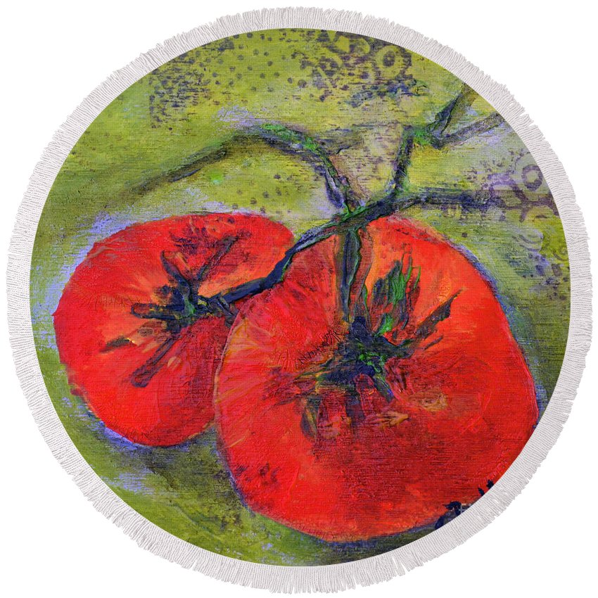 Tomatoes Round Beach Towel featuring the painting Two Beauties by Claire Bull