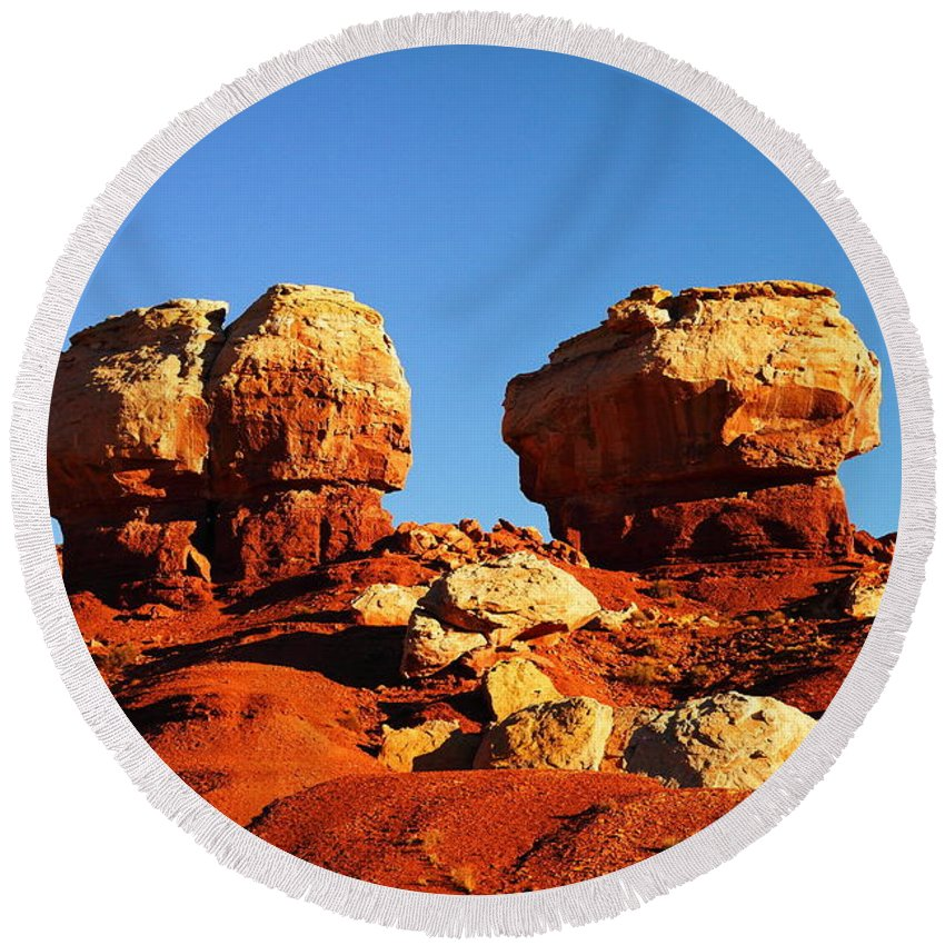 Utah Round Beach Towel featuring the photograph Two Big Rocks At Capital Reef by Jeff Swan