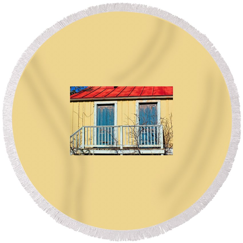 Blue Round Beach Towel featuring the photograph Two Blue Doors by Gary Richards