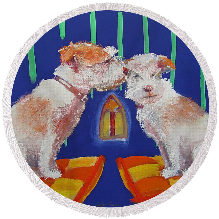 Puppy Round Beach Towel featuring the painting Two Border Terriers Together by Charles Stuart