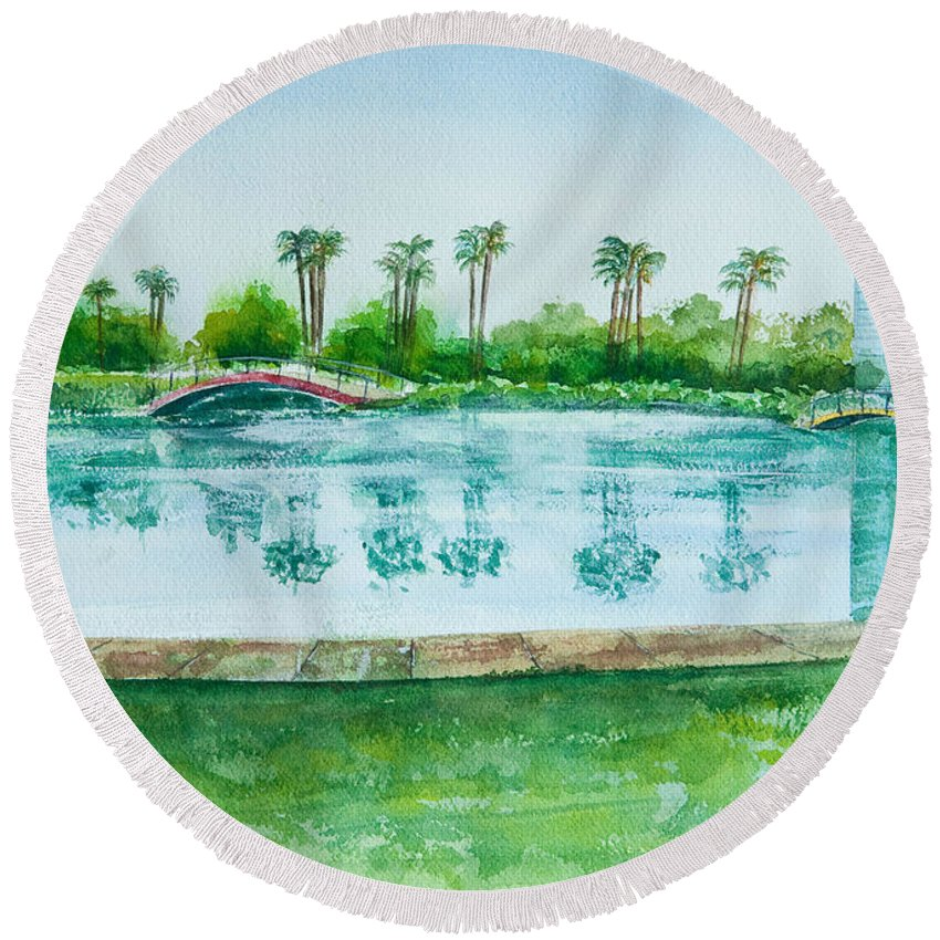 Watercolor Round Beach Towel featuring the painting Two Bridges At Rainbow Lagoon by Debbie Lewis