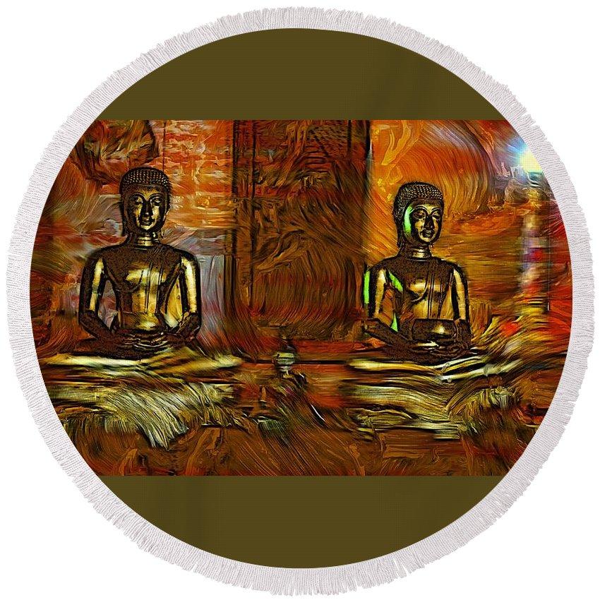 Buddha Round Beach Towel featuring the photograph Two Buddhas by Ian Gledhill