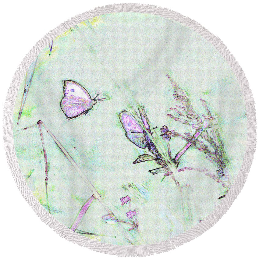Fine Art Round Beach Towel featuring the photograph Two Butterflies by Patricia Griffin Brett