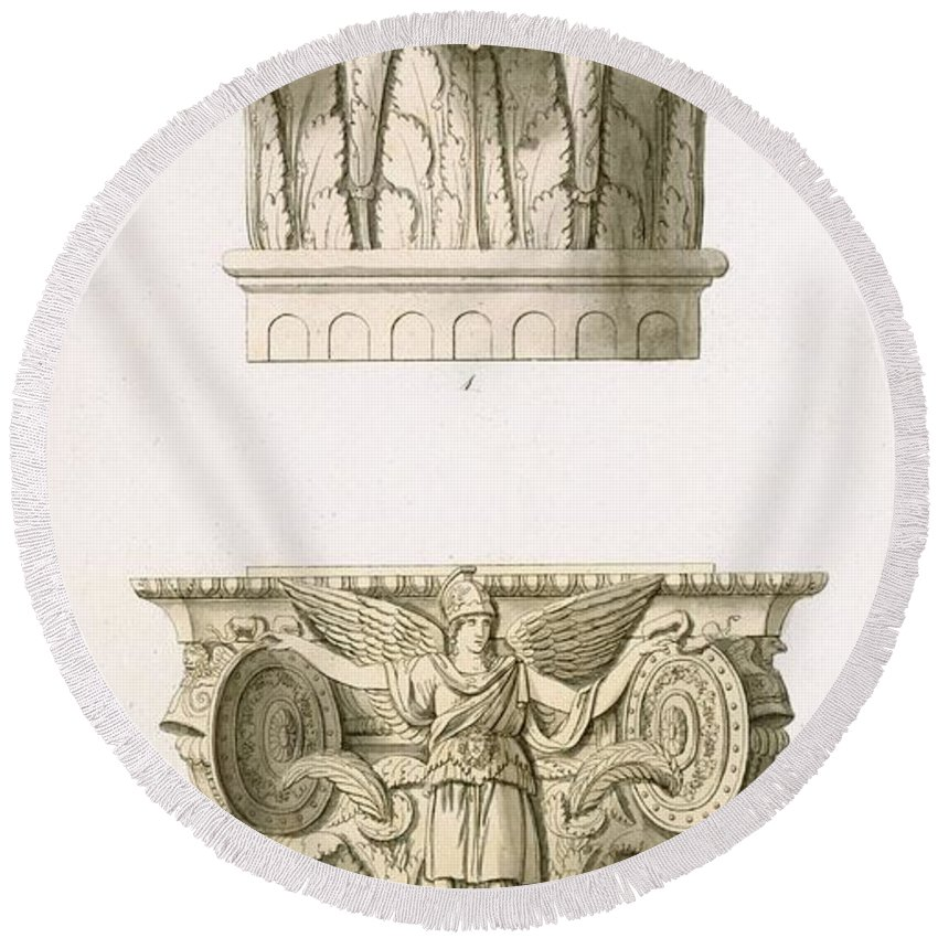Architecture Round Beach Towel featuring the drawing Two Column Capitals by English School