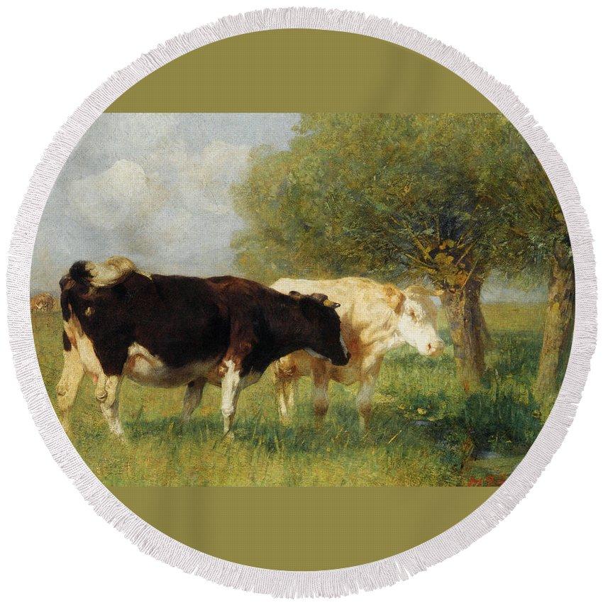 Heirich Von Zugel Round Beach Towel featuring the digital art Two Cows In A Meadow by Heirich von Zugel
