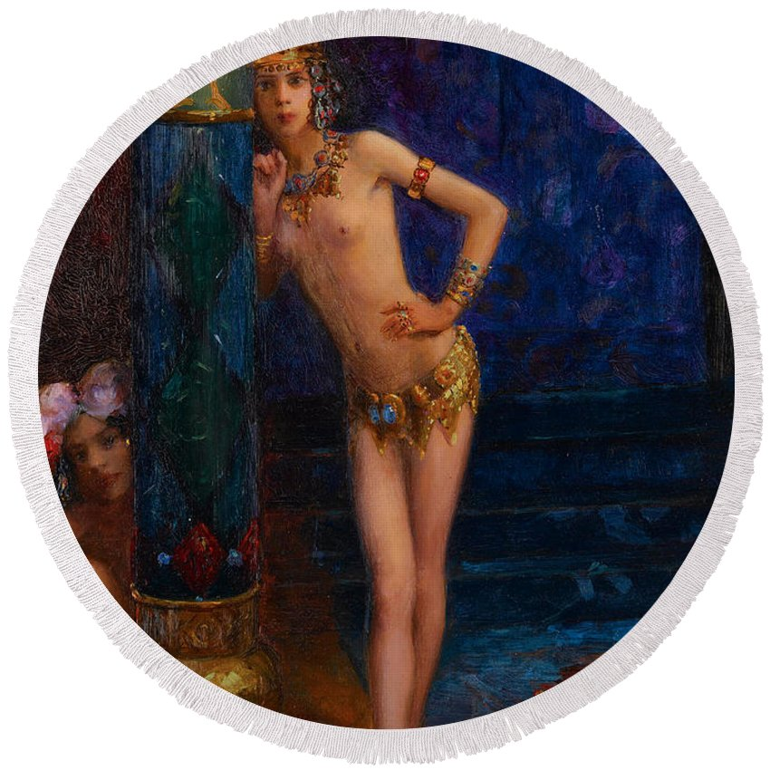 Gaston Bussiere Round Beach Towel featuring the painting Two Dancers by Gaston Bussiere
