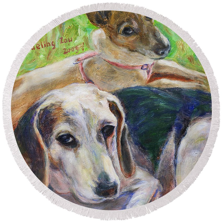 Dog Round Beach Towel featuring the painting Two Dogs by Xueling Zou