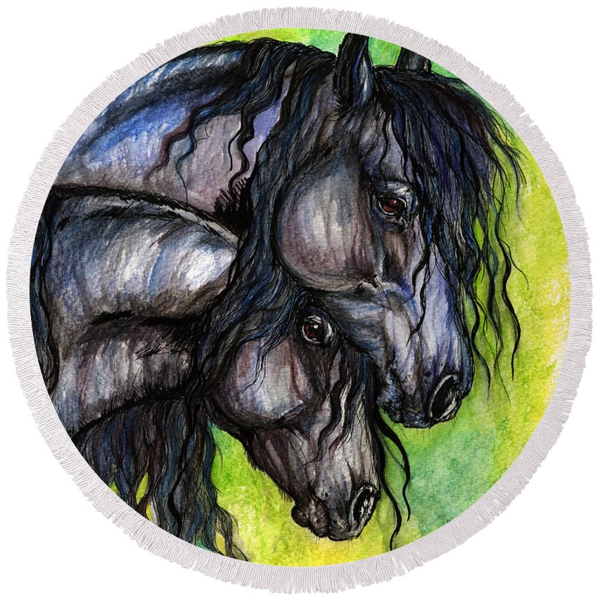 Fresian Horse Round Beach Towel featuring the painting Two Fresian Horses by Angel Ciesniarska