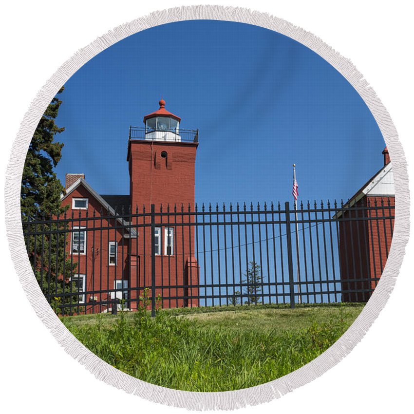 Two Harbors Round Beach Towel featuring the photograph Two Harbors Mn Lighthouse 25 by John Brueske