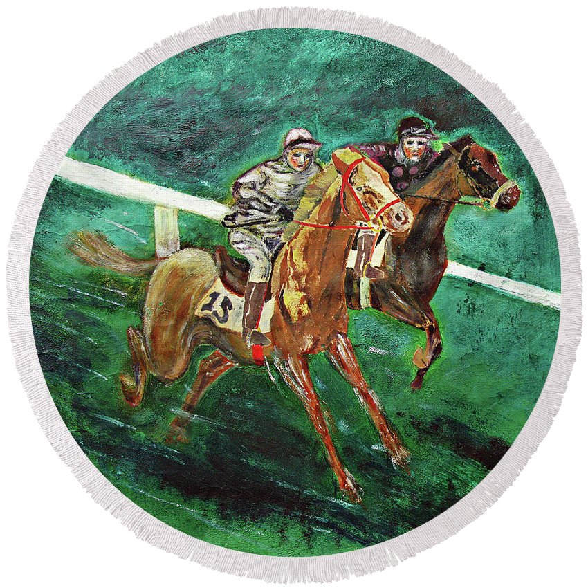 Horse Round Beach Towel featuring the painting Two Horse Race by Tom Conway