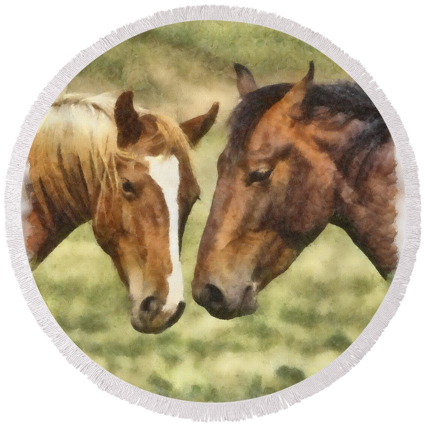 Horse Round Beach Towel featuring the photograph Two Horses by Ingrid Smith-Johnsen