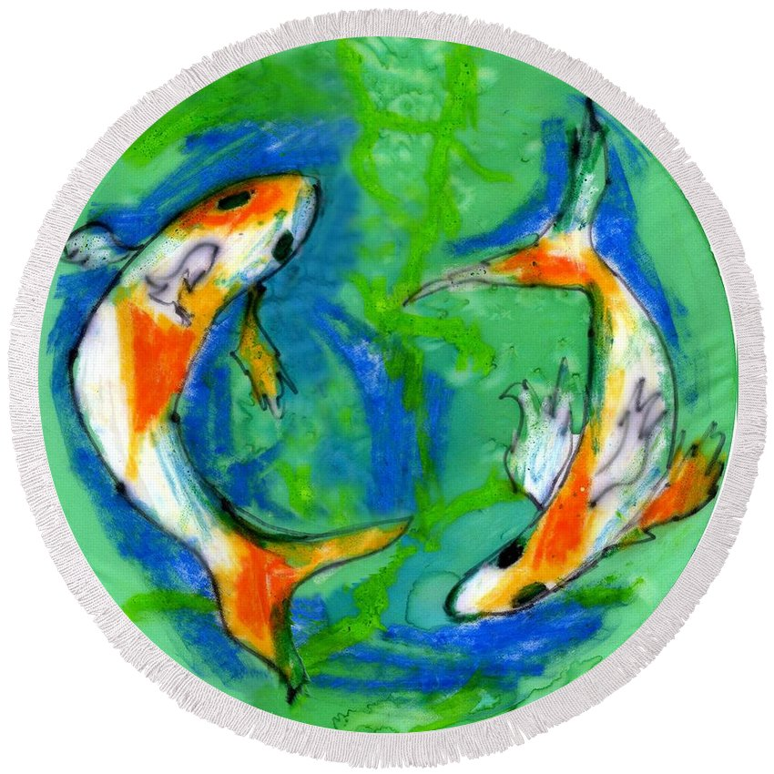 Koi Fish Round Beach Towel featuring the painting Two Koi Fish by Genevieve Esson