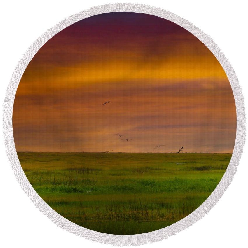 Two Round Beach Towel featuring the photograph Two Mile Landing Colorful Sky by Bill Cannon