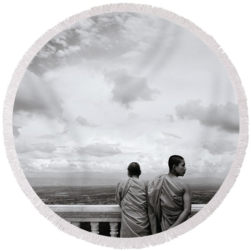 Chiang Round Beach Towel featuring the photograph Two Monks by Shaun Higson