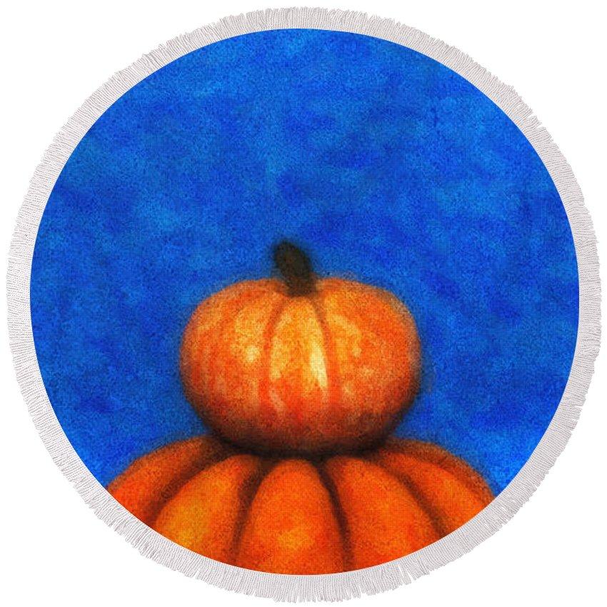 3d Round Beach Towel featuring the digital art Two Pumpkins by Jutta Maria Pusl