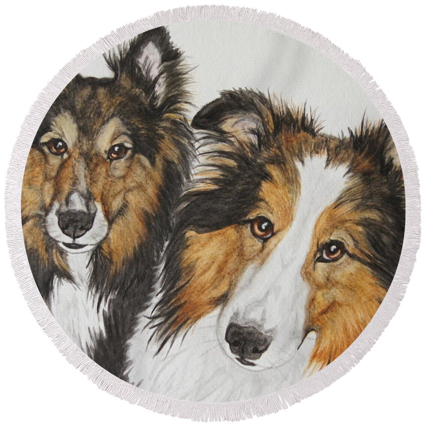 Sheltie Round Beach Towel featuring the painting Two Shelties by Megan Cohen