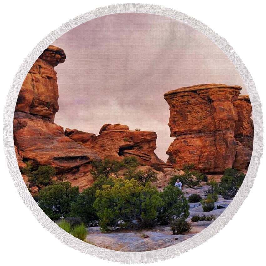 Canyonlands National Park Round Beach Towel featuring the photograph Two Towers by Marty Koch
