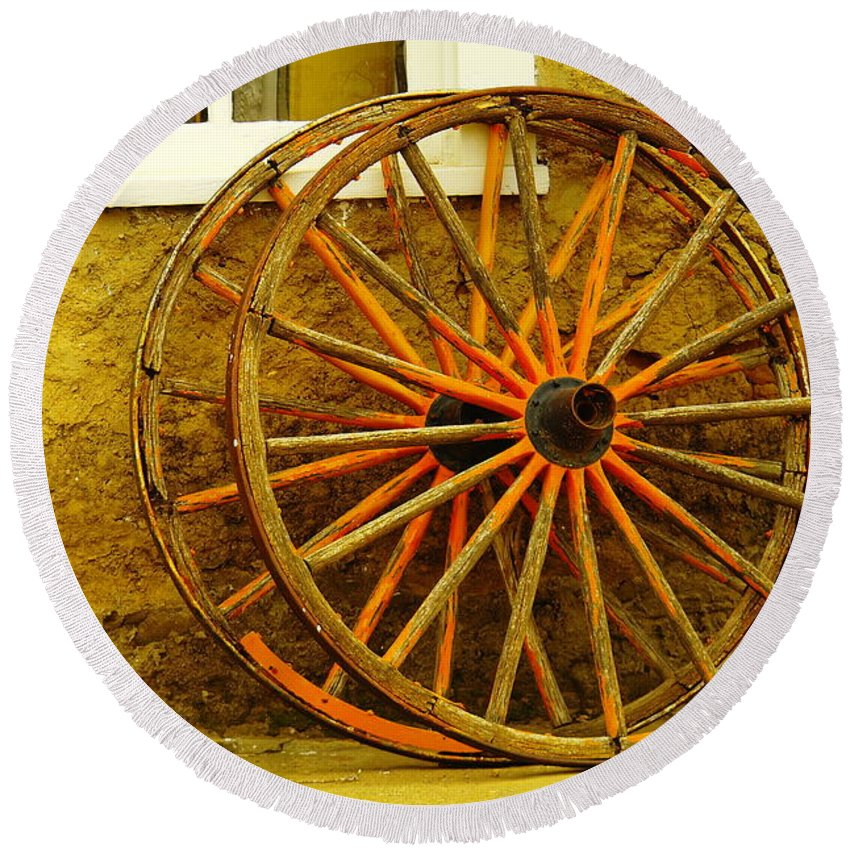 Wheels Round Beach Towel featuring the photograph Two Wagon Wheels by Jeff Swan